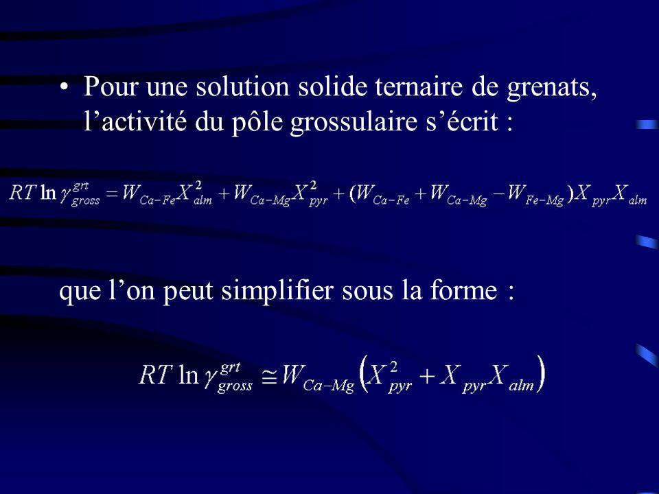 Pour une solution solide ternaire de grenats, lactivité du pôle grossulaire sécrit : que lon peut simplifier sous la forme :