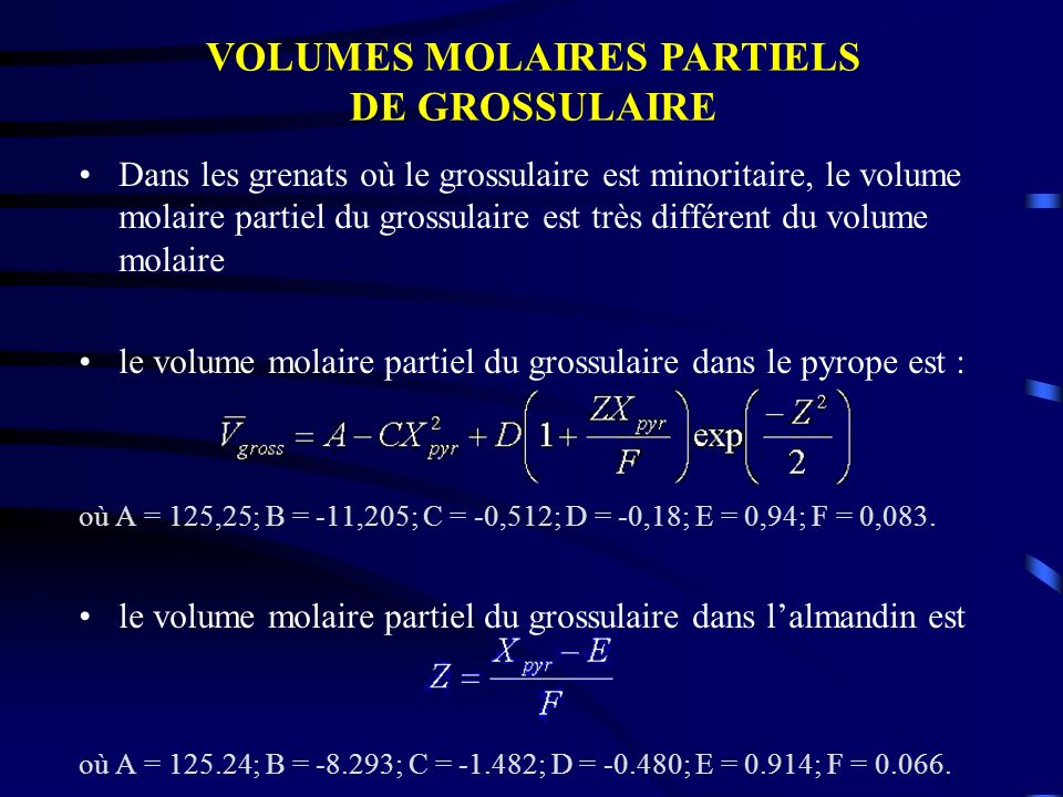 Dans les grenats où le grossulaire est minoritaire, le volume molaire partiel du grossulaire est très différent du volume molaire le volume molaire pa