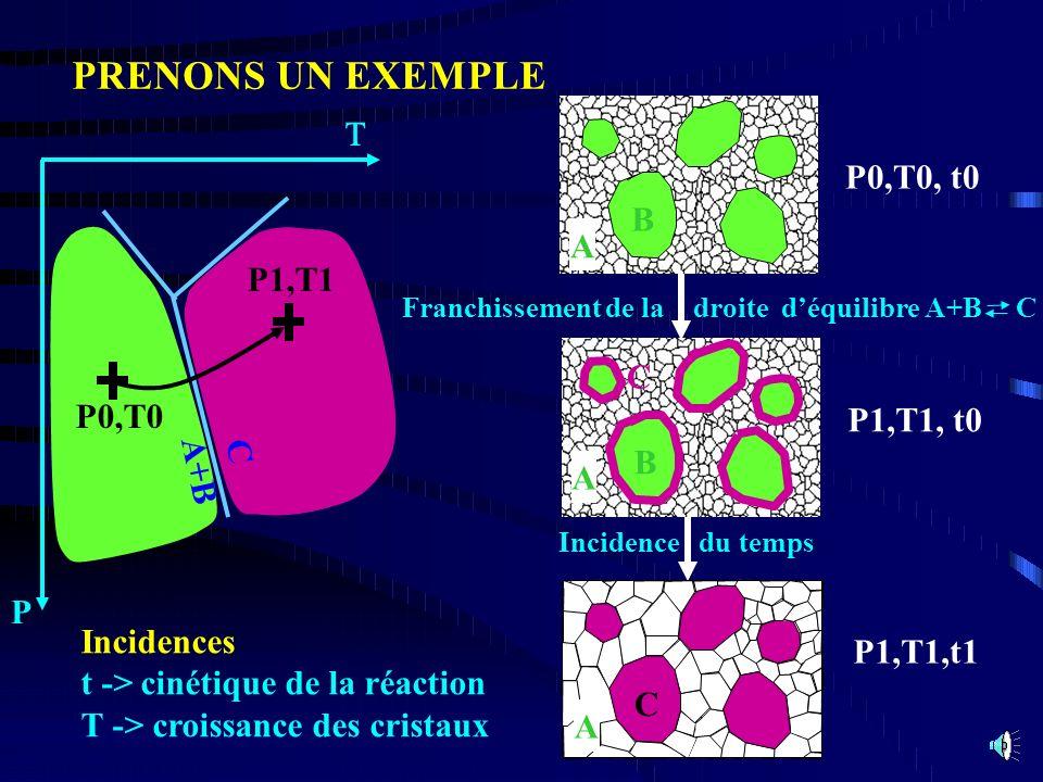P1,T1,t1 Incidence du temps Incidences t -> cinétique de la réaction T -> croissance des cristaux A C PRENONS UN EXEMPLE P P0,T0 P1,T1 A+B C B P0,T0,