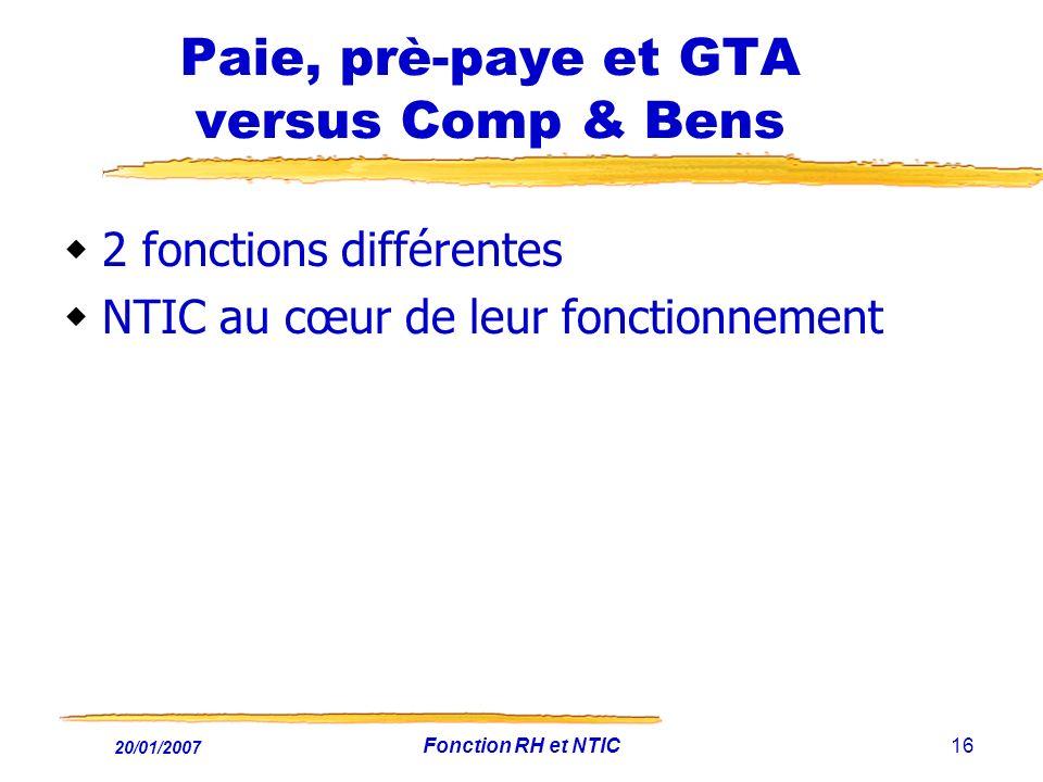 20/01/2007 Fonction RH et NTIC16 Paie, prè-paye et GTA versus Comp & Bens 2 fonctions différentes NTIC au cœur de leur fonctionnement