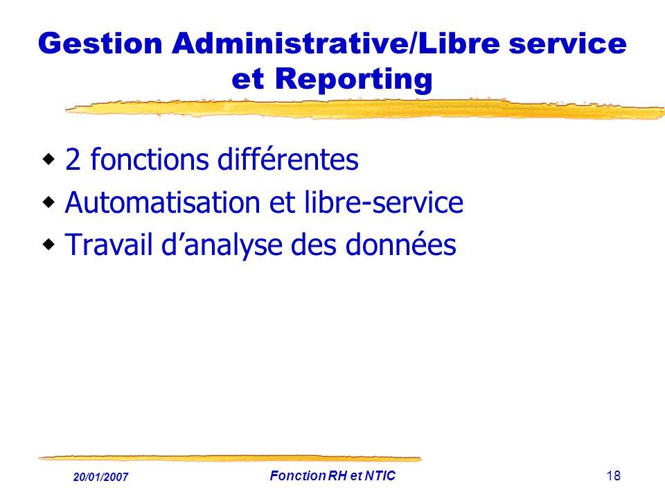 20/01/2007 Fonction RH et NTIC18 Gestion Administrative/Libre service et Reporting 2 fonctions différentes Automatisation et libre-service Travail dan