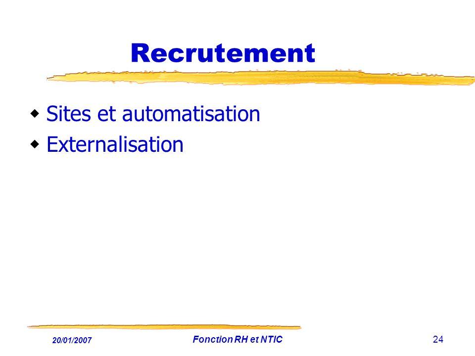 20/01/2007 Fonction RH et NTIC24 Recrutement Sites et automatisation Externalisation