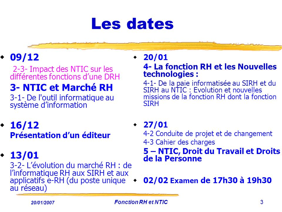 20/01/2007 Fonction RH et NTIC3 Les dates 09/12 2-3- Impact des NTIC sur les différentes fonctions dune DRH 3- NTIC et Marché RH 3-1- De l'outil infor