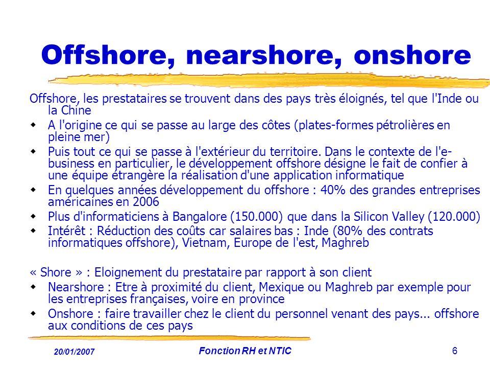20/01/2007 Fonction RH et NTIC6 Offshore, nearshore, onshore Offshore, les prestataires se trouvent dans des pays très éloignés, tel que l'Inde ou la