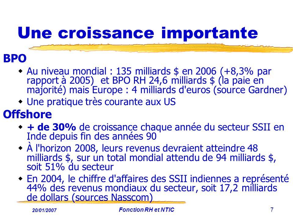 20/01/2007 Fonction RH et NTIC7 Une croissance importante BPO Au niveau mondial : 135 milliards $ en 2006 (+8,3% par rapport à 2005) et BPO RH 24,6 mi