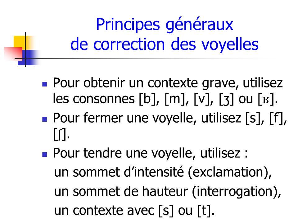 Principes généraux de correction des voyelles Pour obtenir un contexte grave, utilisez les consonnes [b], [m], [v], [ʒ] ou [ ʁ ]. Pour fermer une voye