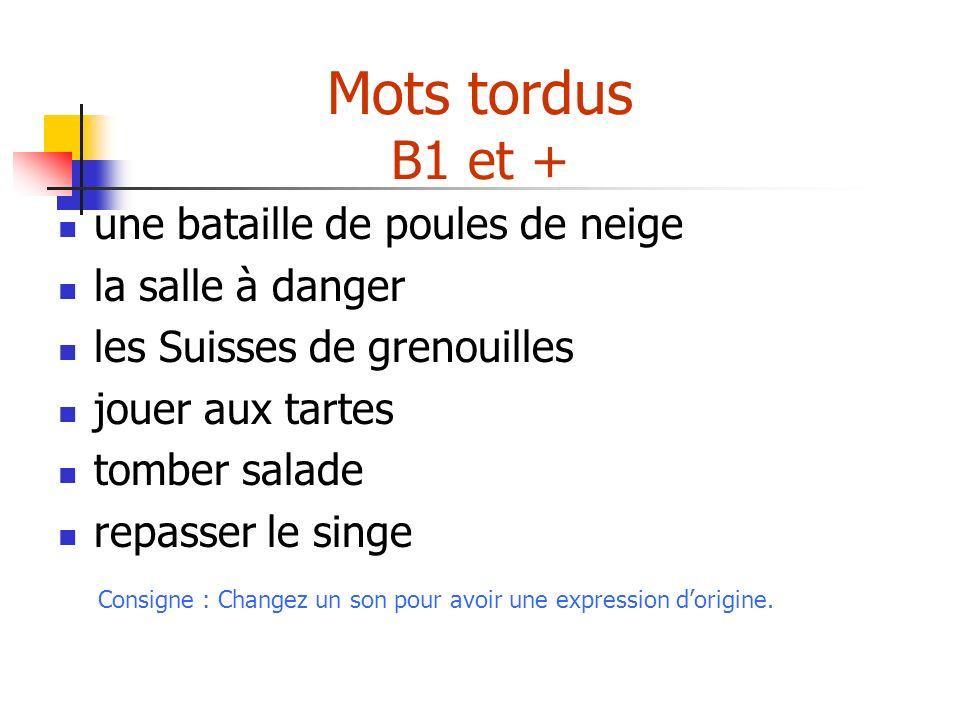 Mots tordus B1 et + une bataille de poules de neige la salle à danger les Suisses de grenouilles jouer aux tartes tomber salade repasser le singe Cons