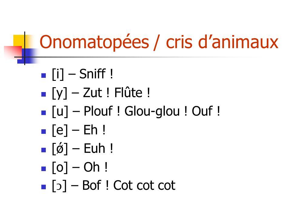 Onomatopées / cris danimaux [i] – Sniff ! [y] – Zut ! Flûte ! [u] – Plouf ! Glou-glou ! Ouf ! [e] – Eh ! [ǿ] – Euh ! [o] – Oh ! [] – Bof ! Cot cot cot