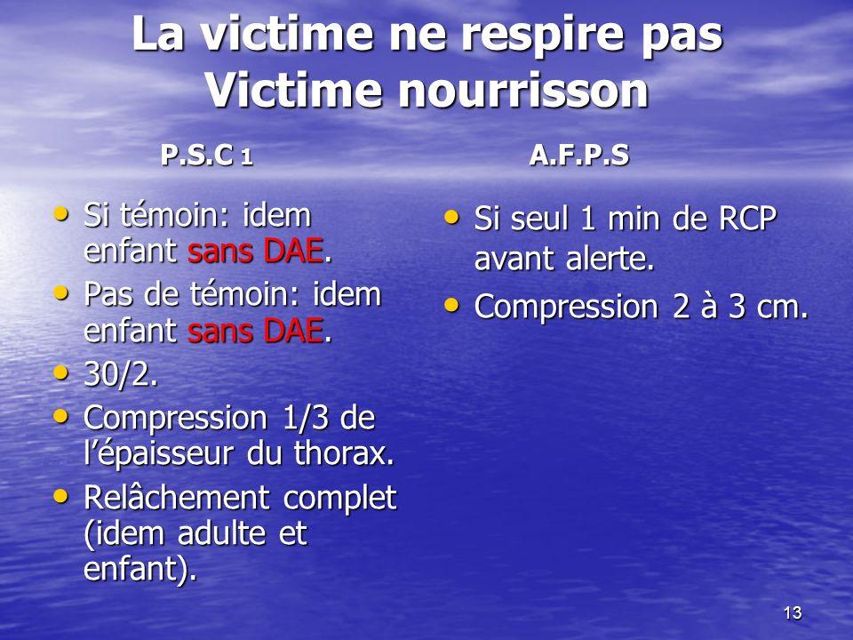 13 La victime ne respire pas Victime nourrisson Si témoin: idem enfant sans DAE.