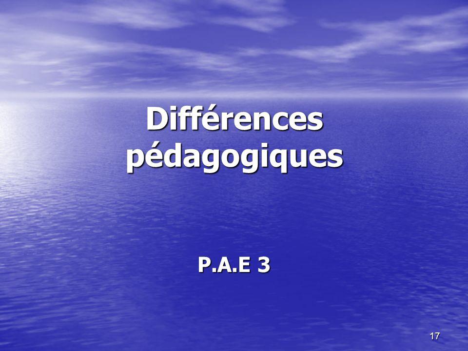 17 Différences pédagogiques P.A.E 3