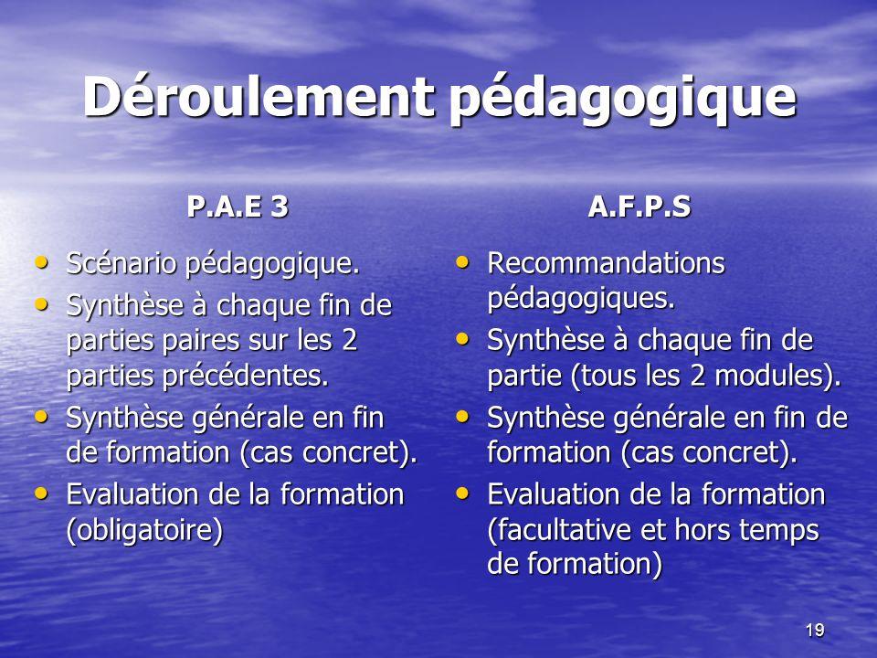 19 Déroulement pédagogique P.A.E 3 A.F.P.S Scénario pédagogique. Scénario pédagogique. Synthèse à chaque fin de parties paires sur les 2 parties précé