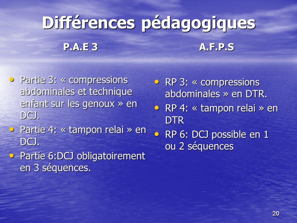 20 Différences pédagogiques P.A.E 3 A.F.P.S Partie 3: « compressions abdominales et technique enfant sur les genoux » en DCJ. Partie 3: « compressions