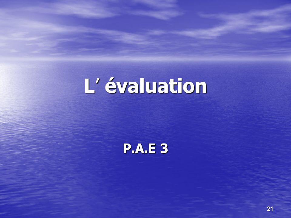 21 L évaluation P.A.E 3