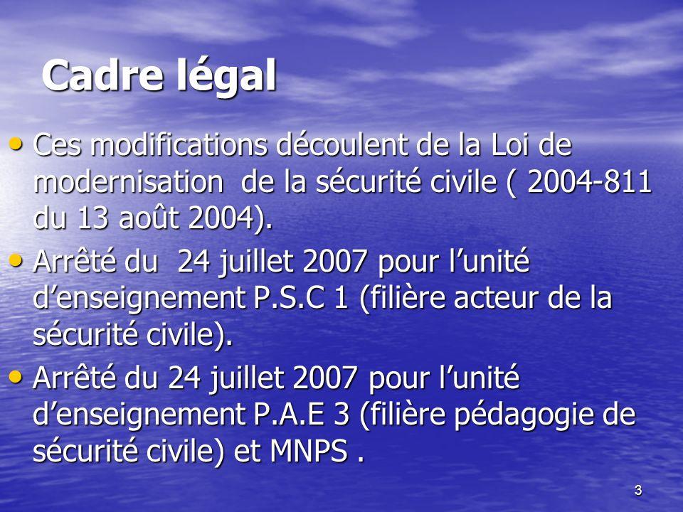 3 Cadre légal Ces modifications découlent de la Loi de modernisation de la sécurité civile ( 2004-811 du 13 août 2004). Ces modifications découlent de