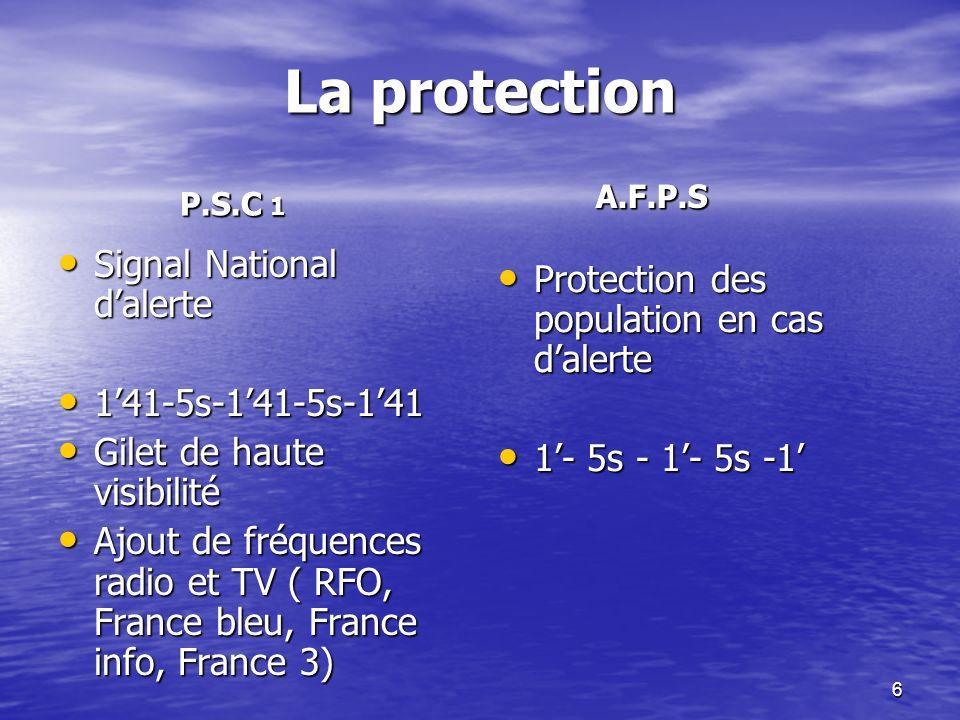 6 La protection Signal National dalerte Signal National dalerte 141-5s-141-5s-141 141-5s-141-5s-141 Gilet de haute visibilité Gilet de haute visibilité Ajout de fréquences radio et TV ( RFO, France bleu, France info, France 3) Ajout de fréquences radio et TV ( RFO, France bleu, France info, France 3) Protection des population en cas dalerte Protection des population en cas dalerte 1- 5s - 1- 5s -1 1- 5s - 1- 5s -1 P.S.C 1 A.F.P.S A.F.P.S