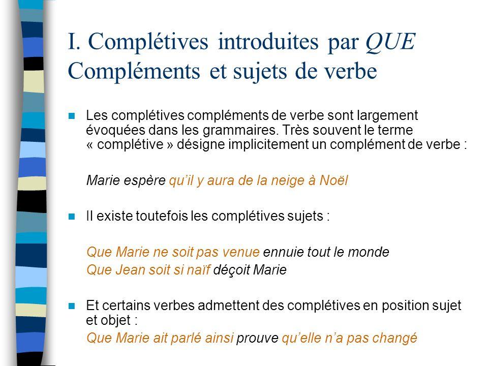 I. Complétives introduites par QUE Compléments et sujets de verbe Les complétives compléments de verbe sont largement évoquées dans les grammaires. Tr