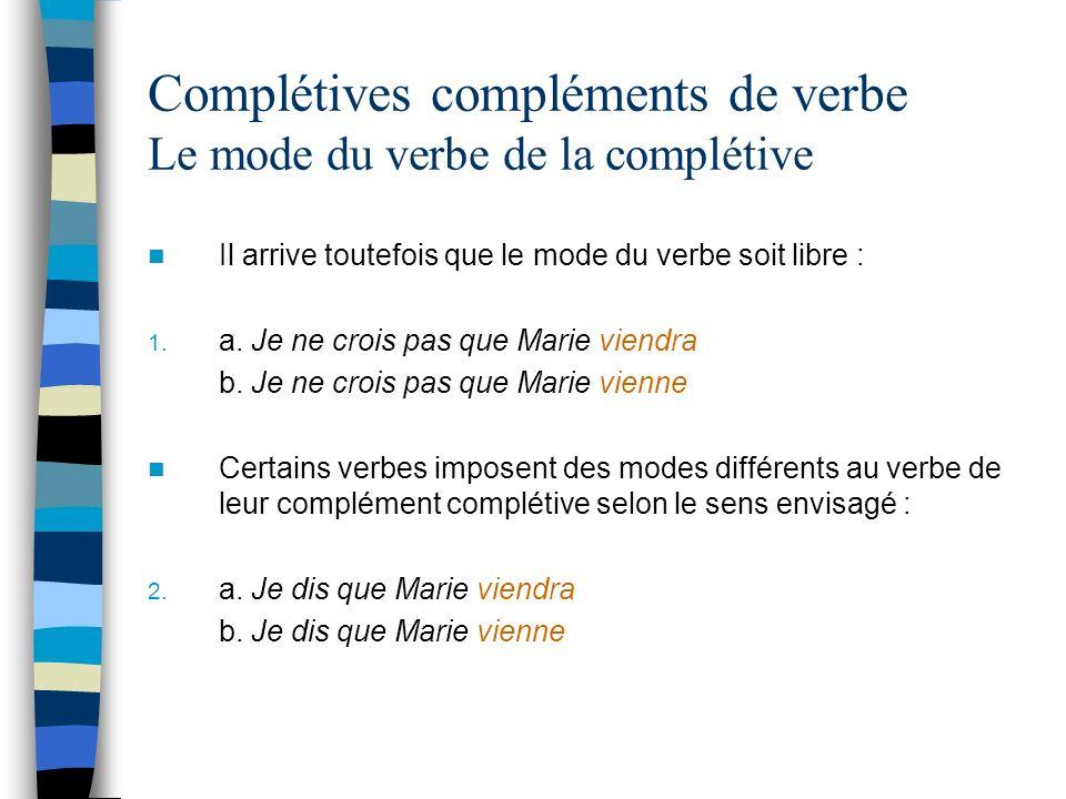 Complétives compléments de verbe Le mode du verbe de la complétive Il arrive toutefois que le mode du verbe soit libre : 1.