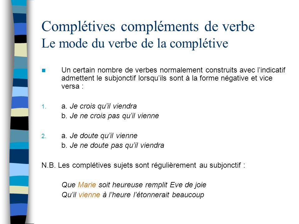 Complétives compléments de verbe Le mode du verbe de la complétive Un certain nombre de verbes normalement construits avec lindicatif admettent le subjonctif lorsquils sont à la forme négative et vice versa : 1.