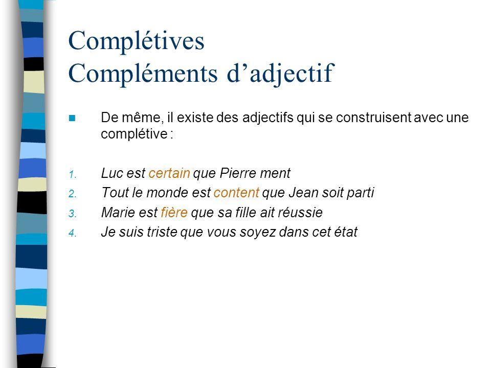 Complétives Compléments dadjectif De même, il existe des adjectifs qui se construisent avec une complétive : 1.