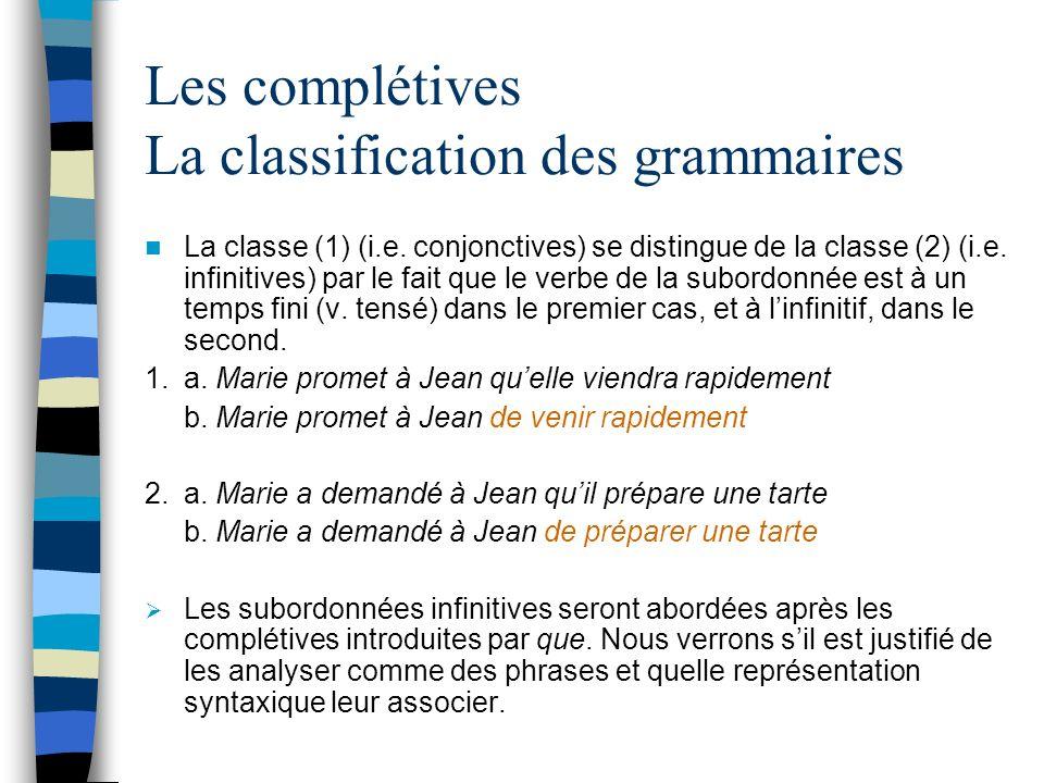 Représentation syntaxique des complétives Récapitulation Lanalyse syntaxique des complétives nous a amenés à introduire un nouveau constituant, le Syntagme Complémenteur (noté C).