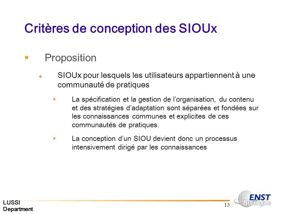 LUSSI Department 13 Critères de conception des SIOUx Proposition SIOUx pour lesquels les utilisateurs appartiennent à une communauté de pratiques La spécification et la gestion de lorganisation, du contenu et des stratégies dadaptation sont séparées et fondées sur les connaissances communes et explicites de ces communautés de pratiques.