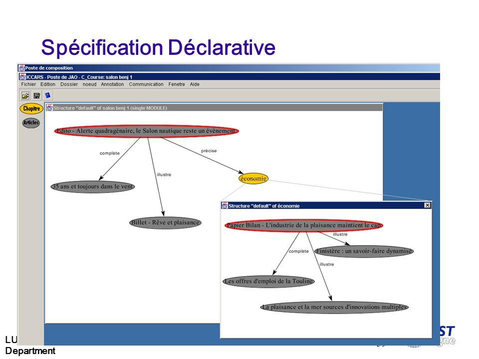 LUSSI Department 39 Spécification Déclarative