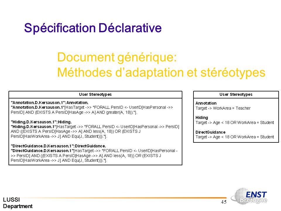 LUSSI Department 45 Spécification Déclarative Document générique: Méthodes dadaptation et stéréotypes