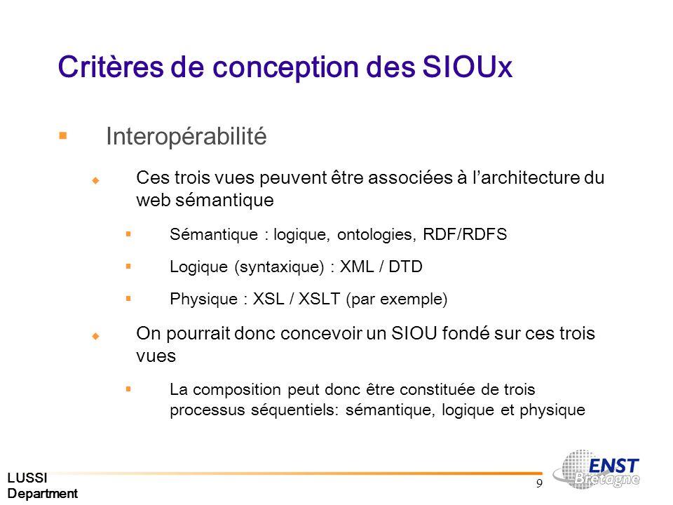 LUSSI Department 9 Critères de conception des SIOUx Interopérabilité Ces trois vues peuvent être associées à larchitecture du web sémantique Sémantique : logique, ontologies, RDF/RDFS Logique (syntaxique) : XML / DTD Physique : XSL / XSLT (par exemple) On pourrait donc concevoir un SIOU fondé sur ces trois vues La composition peut donc être constituée de trois processus séquentiels: sémantique, logique et physique