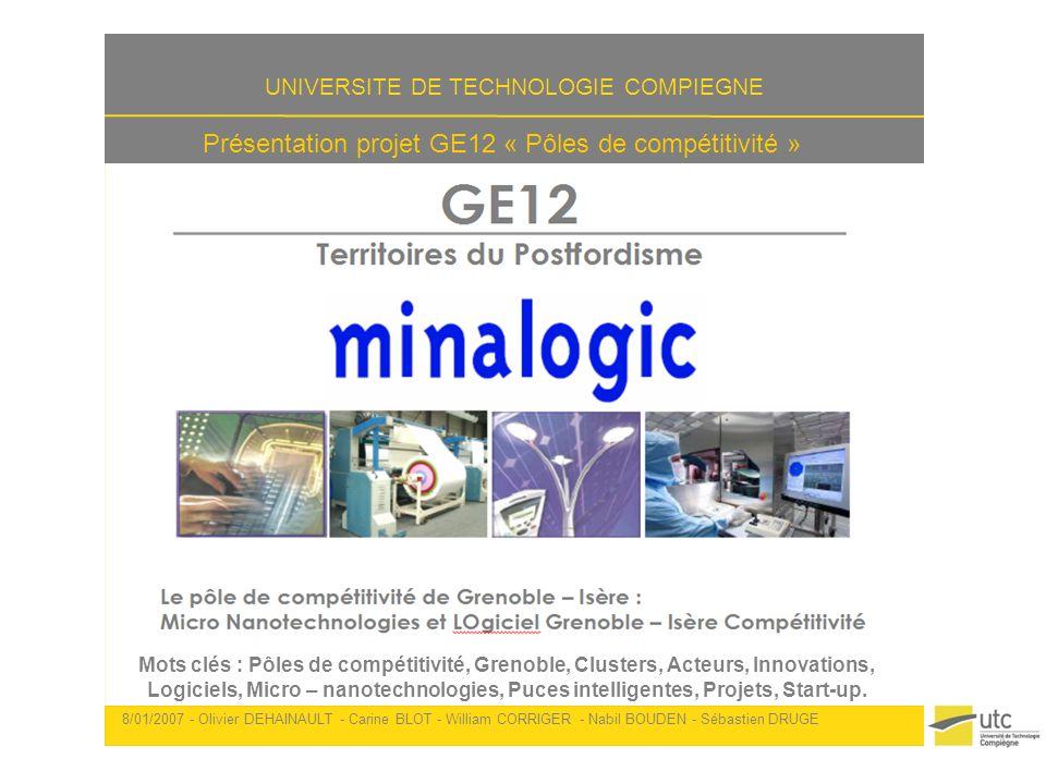 Présentation projet GE12 « Pôles de compétitivité » 8/01/2007 - Olivier DEHAINAULT - Carine BLOT - William CORRIGER - Nabil BOUDEN - Sébastien DRUGE 2 Présentation du pôle Le pôle MINALOGIC signifie : MI cro NA notechnologies et LO giciel G renoble- I sère C ompétitivité MINALOGIC est le pôle de compétitivité basé à Grenoble - Isère dans les domaines des micro-nanotechnologies et du logiciel embarqué sur puce Le pôle MINALOGIC a été labellisé en juillet 2005 MINALOGIC a été élevé au rang de pôle de compétitivité français de niveau international, faisant de Grenoble lune des capitales françaises en terme dinnovation dans les secteurs de la microélectronique et des logiciels embraqués