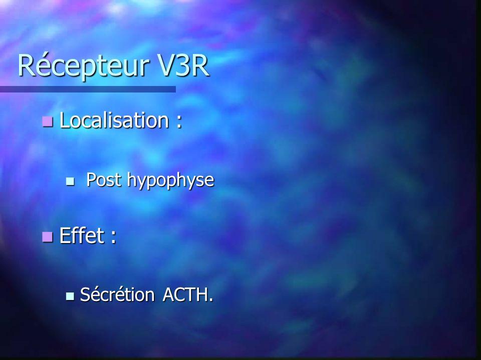 Récepteur V3R Localisation : Localisation : Post hypophyse Post hypophyse Effet : Effet : Sécrétion ACTH.