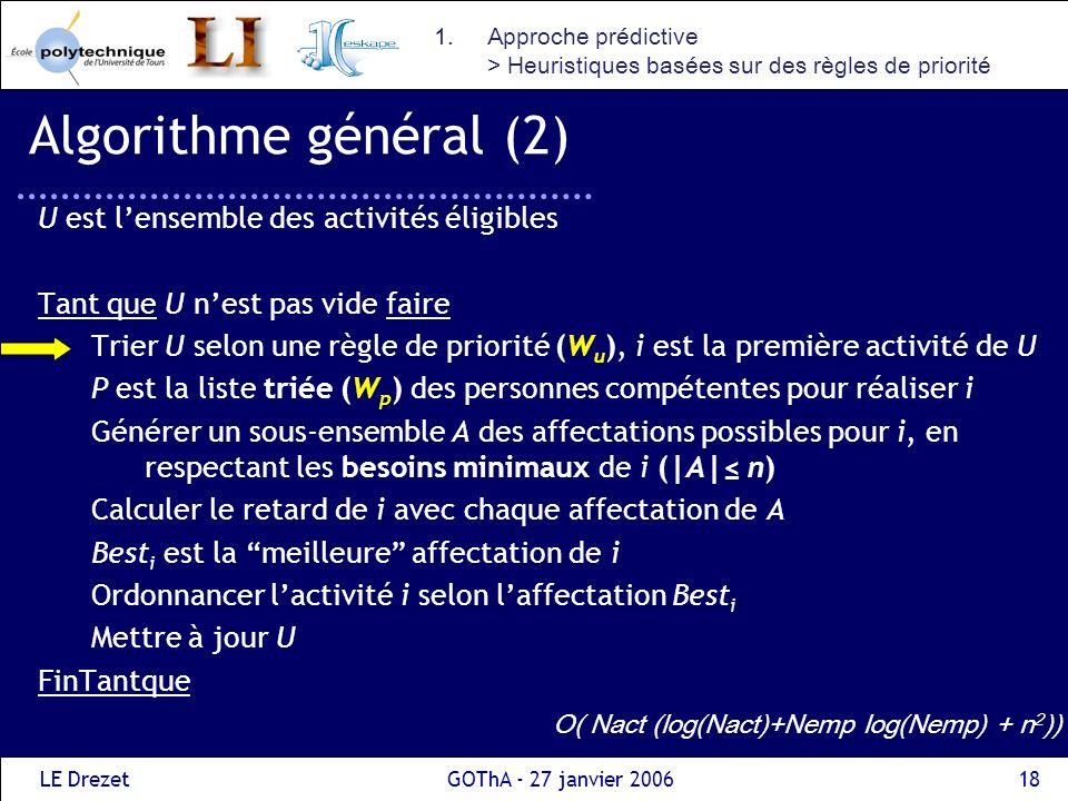 LE DrezetGOThA - 27 janvier 200618 Algorithme général (2) U est lensemble des activités éligibles Tant que U nest pas vide faire Trier U selon une règ