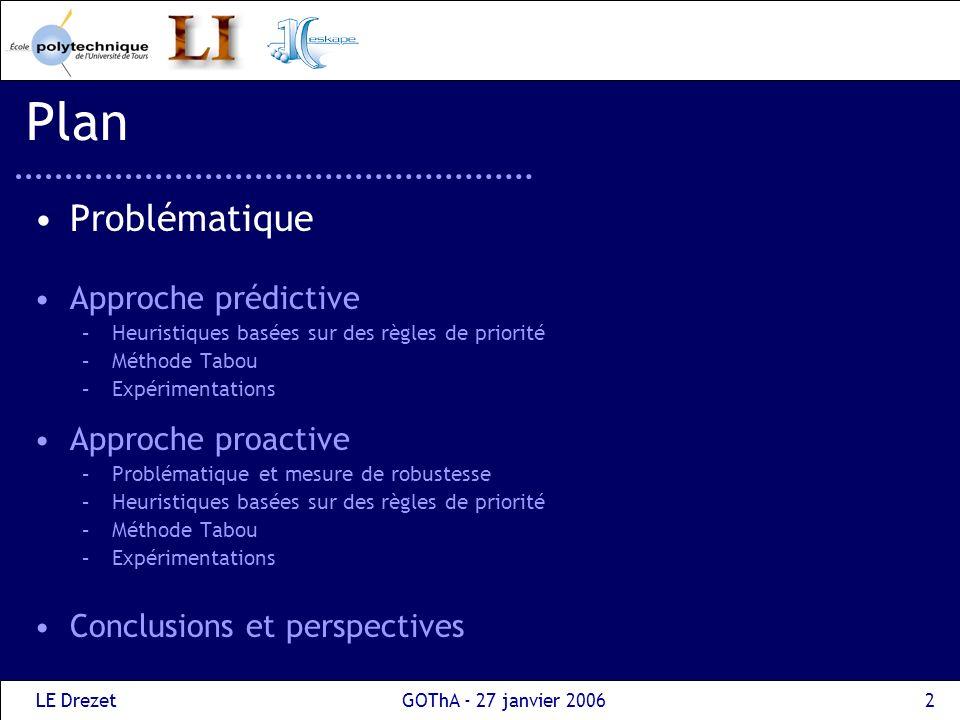 LE DrezetGOThA - 27 janvier 20062 Plan Problématique Approche prédictive –Heuristiques basées sur des règles de priorité –Méthode Tabou –Expérimentati