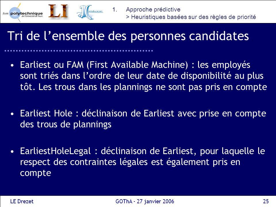 LE DrezetGOThA - 27 janvier 200625 Tri de lensemble des personnes candidates Earliest ou FAM (First Available Machine) : les employés sont triés dans