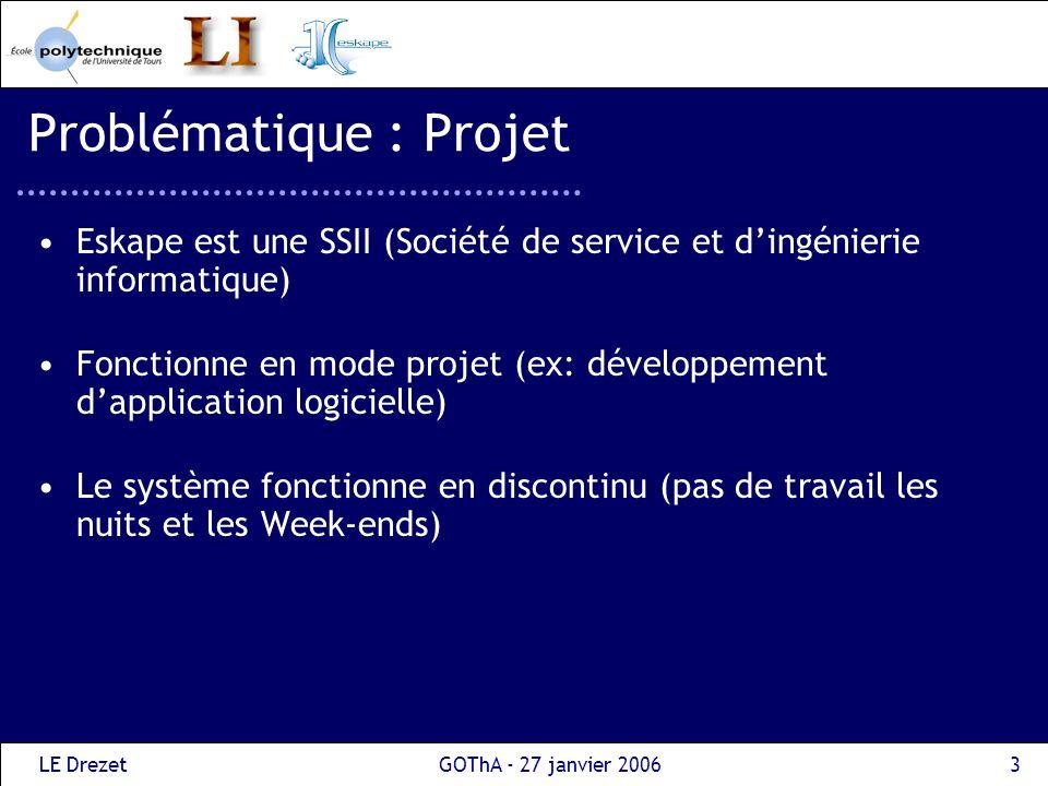 LE DrezetGOThA - 27 janvier 20064 Problématique : Projet Les projets sont découpés en activités, qui utilisent un seul type de ressources : les ressources humaines Les activités sont reliées par des contraintes de précédence.