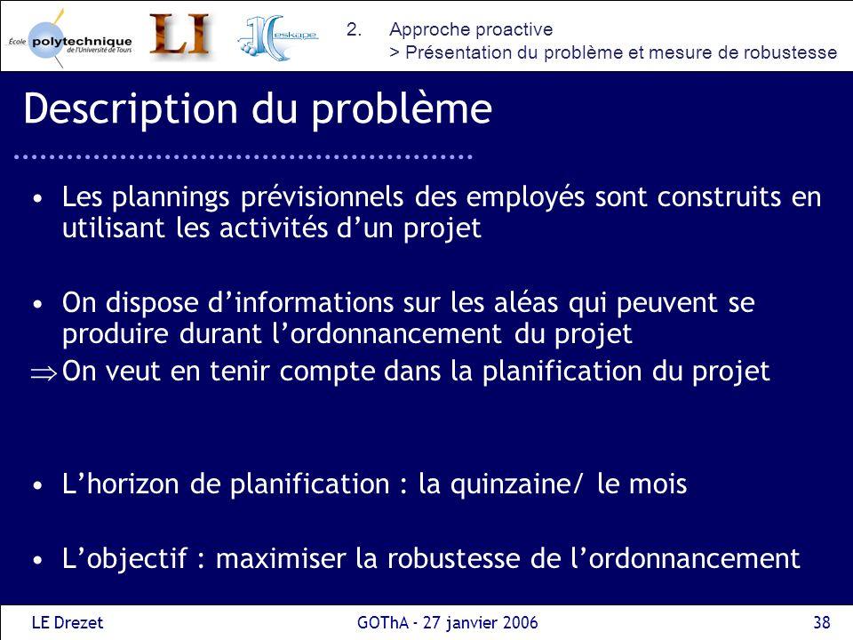 LE DrezetGOThA - 27 janvier 200638 Description du problème Les plannings prévisionnels des employés sont construits en utilisant les activités dun pro