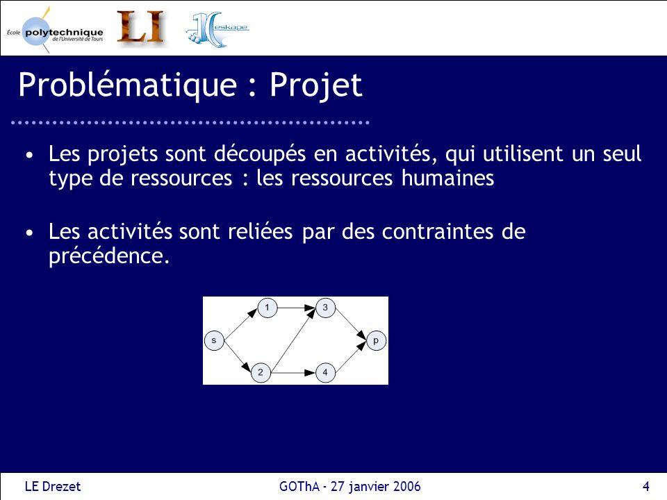 LE DrezetGOThA - 27 janvier 20064 Problématique : Projet Les projets sont découpés en activités, qui utilisent un seul type de ressources : les ressou