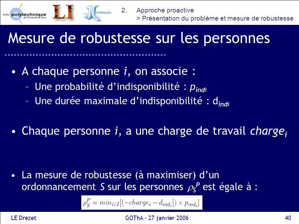 LE DrezetGOThA - 27 janvier 200640 Mesure de robustesse sur les personnes A chaque personne i, on associe : –Une probabilité dindisponibilité : p ind