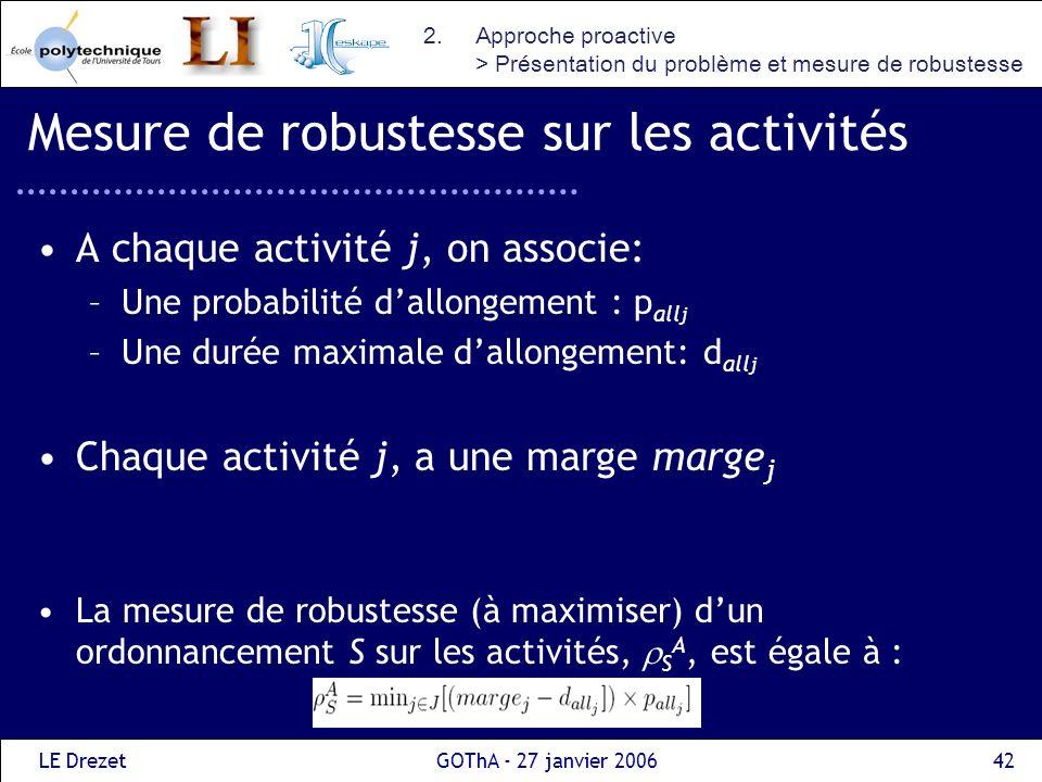 LE DrezetGOThA - 27 janvier 200643 Mesure de robustesse globale La mesure de robustesse dun ordonnancement S est définie par : (1- ) S A + S P Usuellement, la robustesse doit être maximisée Nous allons plutôt chercher à minimiser : S =-(1- ) S A – S P 2.Approche proactive > Présentation du problème et mesure de robustesse