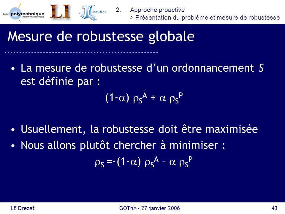 LE DrezetGOThA - 27 janvier 200643 Mesure de robustesse globale La mesure de robustesse dun ordonnancement S est définie par : (1- ) S A + S P Usuelle