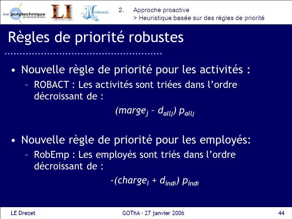 LE DrezetGOThA - 27 janvier 200644 Règles de priorité robustes Nouvelle règle de priorité pour les activités : –ROBACT : Les activités sont triées dan