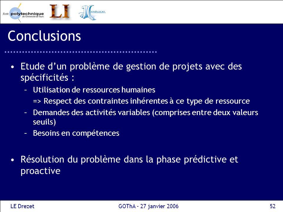 LE DrezetGOThA - 27 janvier 200653 Conclusions Pour chacune des phases, développement de différentes méthodes de résolution : Algorithmes gloutons Métaheuristiques : méthodes Tabou Intégration dans la solution intranet dEskape