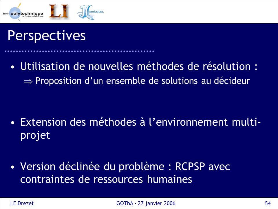 LE DrezetGOThA - 27 janvier 200654 Perspectives Utilisation de nouvelles méthodes de résolution : Proposition dun ensemble de solutions au décideur Ex