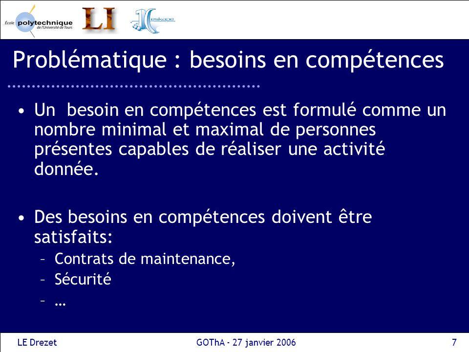 LE DrezetGOThA - 27 janvier 20067 Problématique : besoins en compétences Un besoin en compétences est formulé comme un nombre minimal et maximal de pe