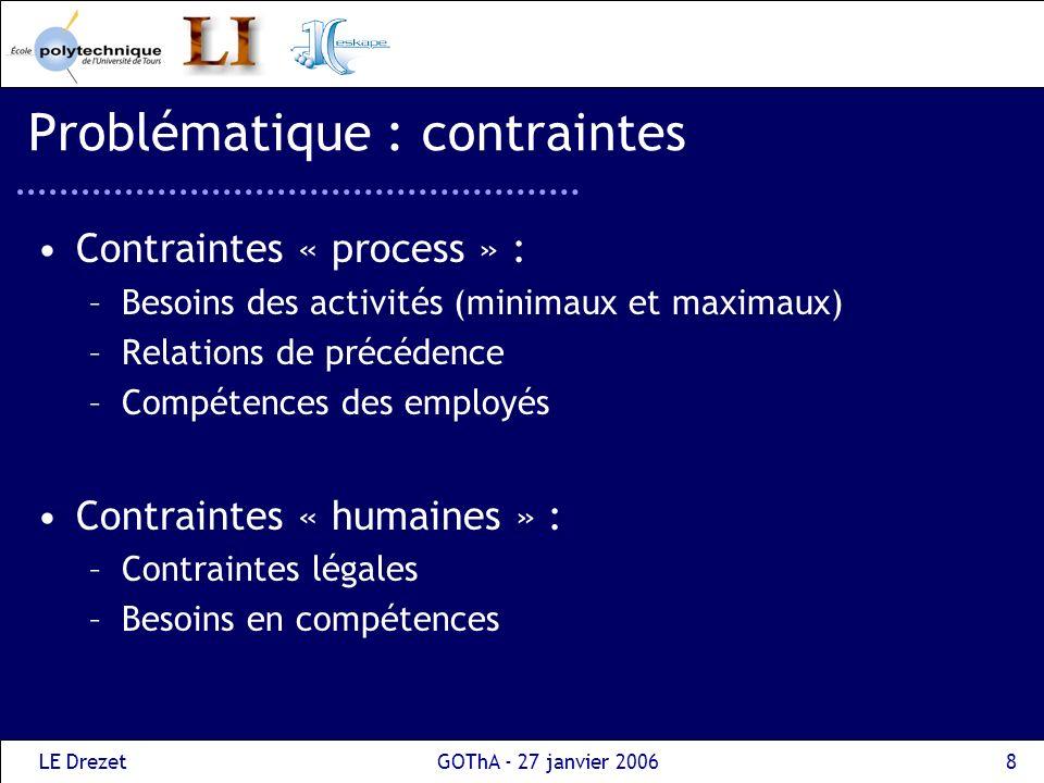 LE DrezetGOThA - 27 janvier 20068 Problématique : contraintes Contraintes « process » : –Besoins des activités (minimaux et maximaux) –Relations de pr