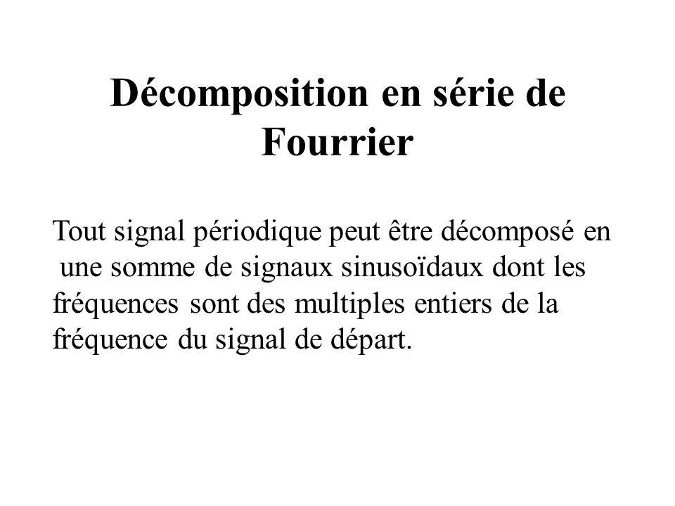 Décomposition en série de Fourrier Tout signal périodique peut être décomposé en une somme de signaux sinusoïdaux dont les fréquences sont des multiples entiers de la fréquence du signal de départ.
