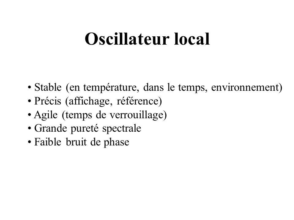 Oscillateur local Stable (en température, dans le temps, environnement) Précis (affichage, référence) Agile (temps de verrouillage) Grande pureté spectrale Faible bruit de phase