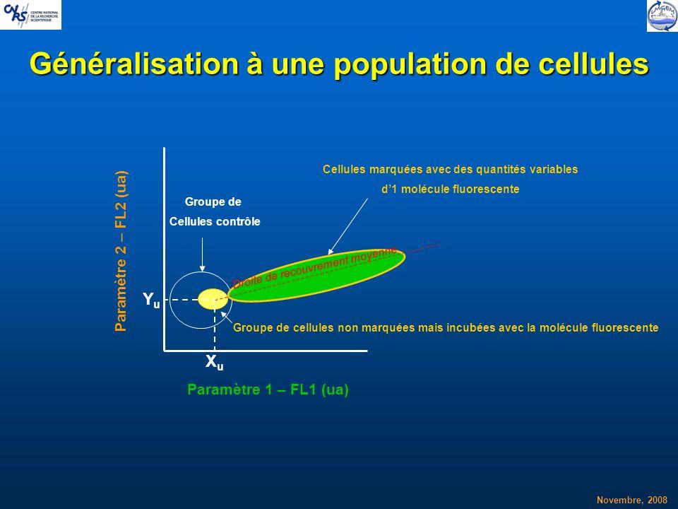 Novembre, 2008 Généralisation à une population de cellules XuXu YuYu Cellules marquées avec des quantités variables d1 molécule fluorescente Groupe de
