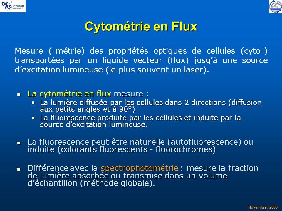 Novembre, 2008 Cytométrie en Flux La cytométrie en flux mesure : La cytométrie en flux mesure : La lumière diffusée par les cellules dans 2 directions