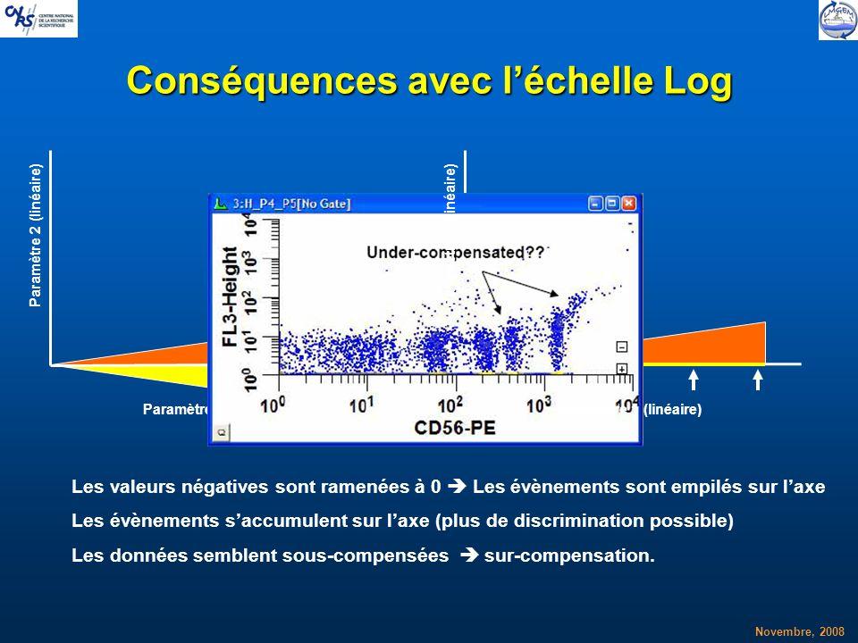 Novembre, 2008 Conséquences avec léchelle Log Paramètre 1 (linéaire) Paramètre 2 (linéaire) Les valeurs négatives sont ramenées à 0 Les évènements son