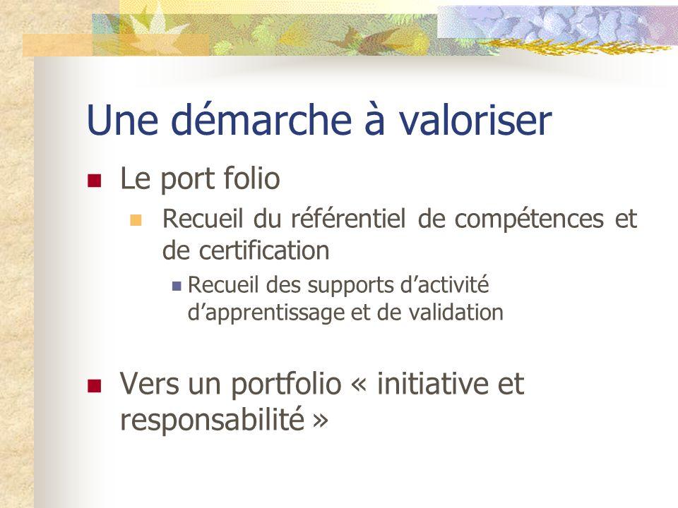 Une démarche à valoriser Le port folio Recueil du référentiel de compétences et de certification Recueil des supports dactivité dapprentissage et de validation Vers un portfolio « initiative et responsabilité »
